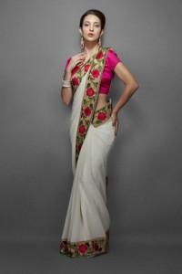 zl-sa-0007-floral print style sari